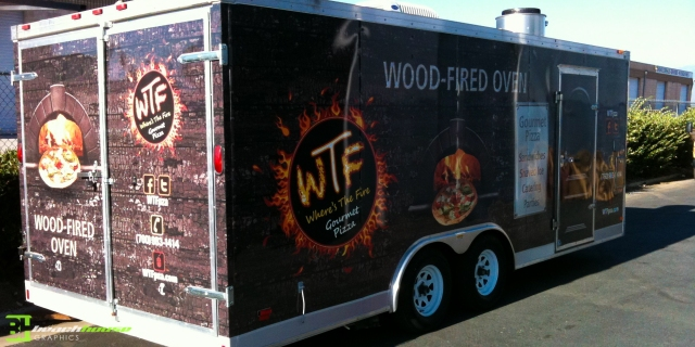 Vehicle Graphics, Wraps, Vinyl, Digital Print, Wood Grain Art, Pizza Food Truck